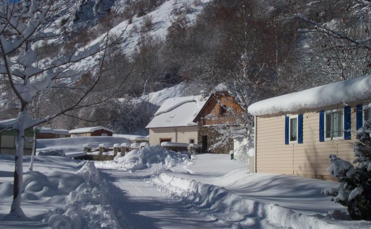 Camping Gavarnie onder de sneeuw